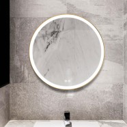 DECORAPORT 28 x 28 Inch LED Bathroom Mirror with Touch Button, Light Luxury Gold, Anti Fog, Dimmable, Vertical Mount (D902-2828)