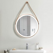 DECORAPORT 24 x 24 Inch LED Bathroom Mirror with Touch Button, Light Luxury Gold, Anti Fog, Dimmable, Vertical Mount (D1701-2424)