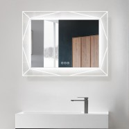DECORAPORT 36 x 28 Inch LED Bathroom Mirror with Touch Button, Bluetooth Speaker, Tri-Color Lights, Anti-fog, Dimmable, Vertical & Horizontal Mount(D1517-3628AB)