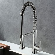 Decoraport Chrome Finished Brass Spring Kitchen Faucet - Pull Out Spray Head (D001A)