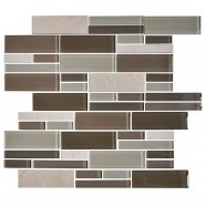 14.2 in. x 11.8 in. Glass and Stone Blend Strip Mosaic Tile - 8mm Thickness (DK-AD805037)