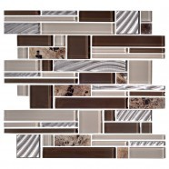 14.2 in. x 11.8 in. Glass and Stone Blend Strip Mosaic Tile - 8mm Thickness (DK-AD806154)