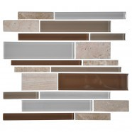 14.2 in. x 11.8 in. Glass and Stone Blend Strip Mosaic Tile - 8mm Thickness (DK-AD806090)