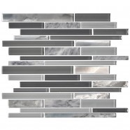13.8 in. x 11.8 in. Glass and Stone Blend Strip Mosaic Tile - 8mm Thickness (DK-8NF0305-014)