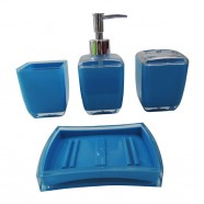 4-Piece Bathroom Accessory Set, Square and Blue (DK-ST006)