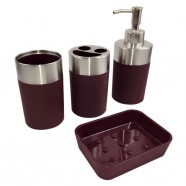 4-Piece Bathroom Accessory Set, Dark Red (DK-ST022)