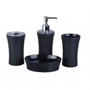 4-Piece Bathroom Accessory Set, Black (DK-ST017)