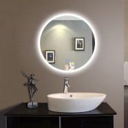 24 x 24 In Round LED Bathroom Silvered Mirror with Touch Button (DK-OD-CL065-1)