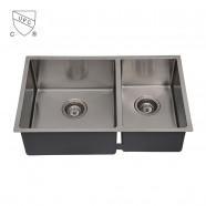 32 x 19 In. Stainless Steel Double Bowl Kitchen Sink (DDR3219-R10)