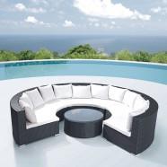 4-Piece PE Rattan Sofa Set: 3 Curved Corner Sofas, Coffee Table (LLS-323)