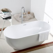 65 In Seamless White Acrylic Freestanding Bathtub (DK-AT-11672)
