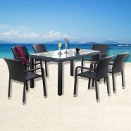 PE Rattan 7 Pieces Dining Set: Dining Table, 6 Chairs(LLS-DE-02)
