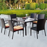 7 Pieces Dining Set: Dining Table, 4 Chairs,2 Armless Chairs(JMS-896)
