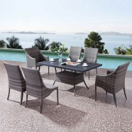 PE Rattan 7 Pieces Dining Set: Dining Table,2 Chairs,4 Armless Chairs(LLS-A6332+A1332)