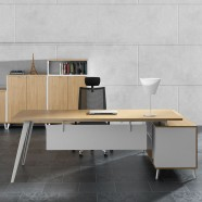 84.6 In Oak and White L Shape Moderne Executive Desk with Storage Unit (BM02-2150)