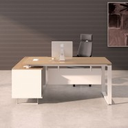 70.9 In Oak and White L Shape Moderne Executive Desk with Storage Unit (PA02)