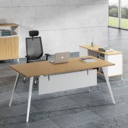 78.7 In Oak and White Moderne Executive Desk (BM01-2000)