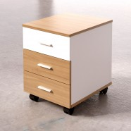 Mobile Office File Cabinet in Oak and White 3 Drawer (TM01)