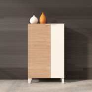 "Office Storage Cabinet 52""H x 31.5""W x 15.7""D in Oak and White with 2 doors (CG22)"