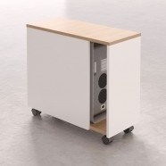"Mobile CPU Cabinet 20.9""H x 10.2""W x 23.6""D in Oak and White (CP11)"