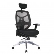 Black High-Back Mesh Executive Chair in Faux Leather with adjustable headrest (CKG-102)