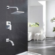 Bathroom Single Handle Tub and Shower Faucet - Brass with Chrome Finish (86H15-CHR-SA)