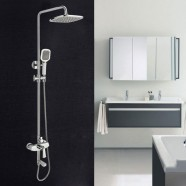 Bathroom Single Handle Tub and Shower Faucet with Hand Shower - Brass with Chrome Finish (86H46-CHR)
