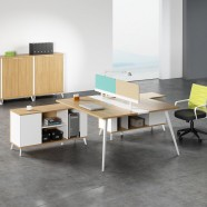 Office Workstation in Oak and White for 2 persons with divider and cabinet (WM32)