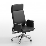 Black High-Back Executive Chair in Leather (BY-105)