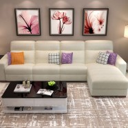 White Manual Recliner Sectional Sofa in Cotton / Linen with Right-facing Chaise (LH-B01-1)