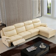 Beige Manual Recliner Sectional Sofa in Leather with Right-facing Chaise (LH-7018L-1)