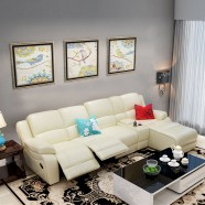 Beige Recliner Sectional Sofa in Leather / Faux Leather with Cup Holder Console and Right-facing Chaise (LH-F5-1)