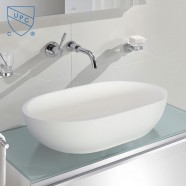 White Oval Artificial Stone Above Counter Bathroom Vessel Sink (DK-HB9033)