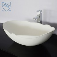 White Scalloped Artificial Stone Above Counter Bathroom Vessel Sink (DK-HB9040)