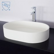 White Oval Artificial Stone Above Counter Bathroom Vessel Sink (DK-HB9043)