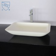 White Rectangular Artificial Stone Above Counter Bathroom Vessel Sink (DK-HB9002)