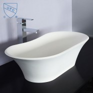 White Oval Artificial Stone Above Counter Bathroom Vessel Sink (DK-HB9024)