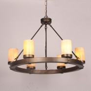 Wrought Iron Built 6-Light Antique Chandelier/Diameter 28 Inch with Marble Shades (C6040-6)