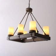 Wrought Iron Built 6-Light Antique Chandelier/Diameter 24 Inch with Marble Shades (CL6040-6)