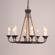Iron Built 8-Light Antique Jute Rope Chandelier/Diameter 28 Inch (C6015-8)