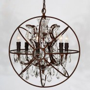 Iron Built 6-Light Vintage Globe Chandelier/Diameter 22 Inch with Crystal Accents (C6024-6A)
