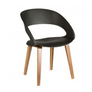 Molded Plastic Chair in Black with Wood Legs - Set of 4 (YMG-9307B)