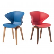 Molded Plastic Chair in Blue with Wood Legs - Set of 2 (YMG-9302B)