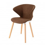 Upholstered Arm Chair in Brown with Wood Legs - Set of 5 (YMG-SM9302A)