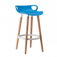 "34.4"" Height Plastic Bar Stool with Wood Legs - (YMG-8317A-1)"