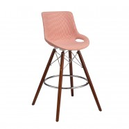 Upholstered Bar Stool with Wood Legs - Set of 2 (YMG-SM9205G-1)