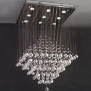Stainless Steel and Crystal Built 9-Light Modern Ceiling Chandelier/26'' Wide with 1 tier (BH-9556)