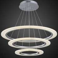 Chrome Finish and Acrylic Built Modern LED Chandelier/24'' Wide with 3 Rings (BH-L5215)