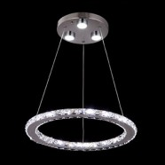 Stainless Steel and Crystal Built Modern LED Chandelier/16'' Wide with 1 Ring (BH-D5317)