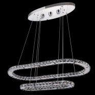 Stainless Steel and Crystal Built Modern LED Chandelier/34'' Wide with 2 Oval Rings (BH-D5318)